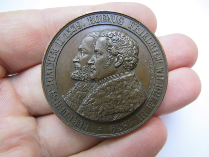 Germany, Brandenburg-Prussia, Friedrich Wilhelm III, 1797-1840 - Bronze Medal 1839 by Christoph Carl P commemorating to 300 Years of the Establishing of the Reformation in Brandenburg and in Berlin