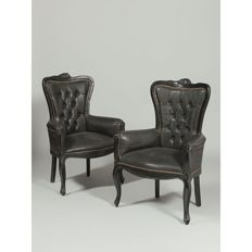 Pair of Armchairs, leather upholstery, English, early 20th century