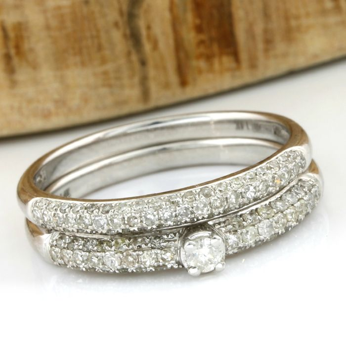 14 kt White Gold Set of Rings with 0.75 ct Diamond, Size: 7