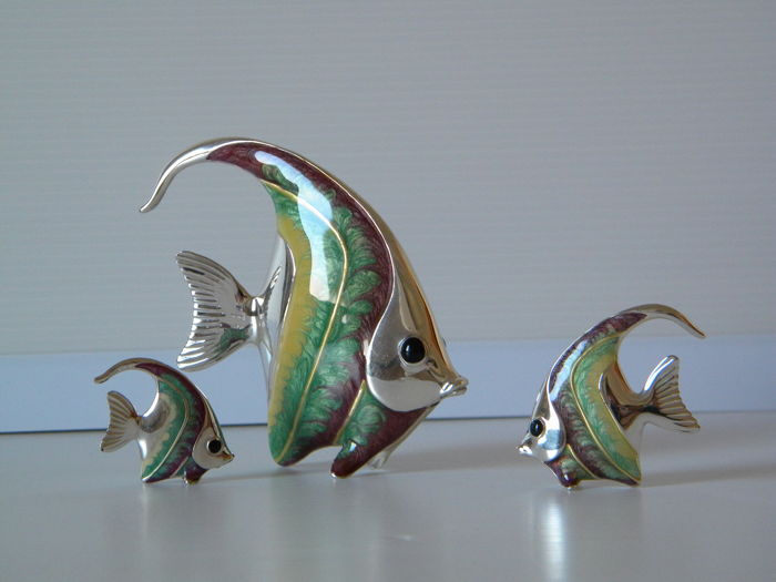 Sterling Silver 3-piece Fish Family - Saturno 182 AR - Arezzo, Italy - 20th century