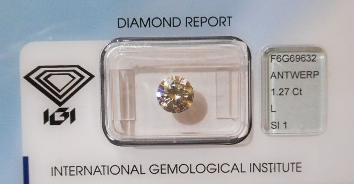 IGI certified, SEALED, BRILLIANT, 1.27 ct, L,SI1 cut diamond