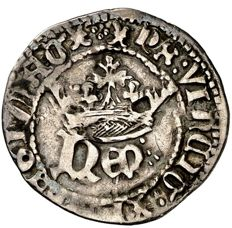 Medieval Spain - Enrique IV (1454–1474), ½ real in silver struck at Cuenca.  C / cuenco mint marks.  Rare
