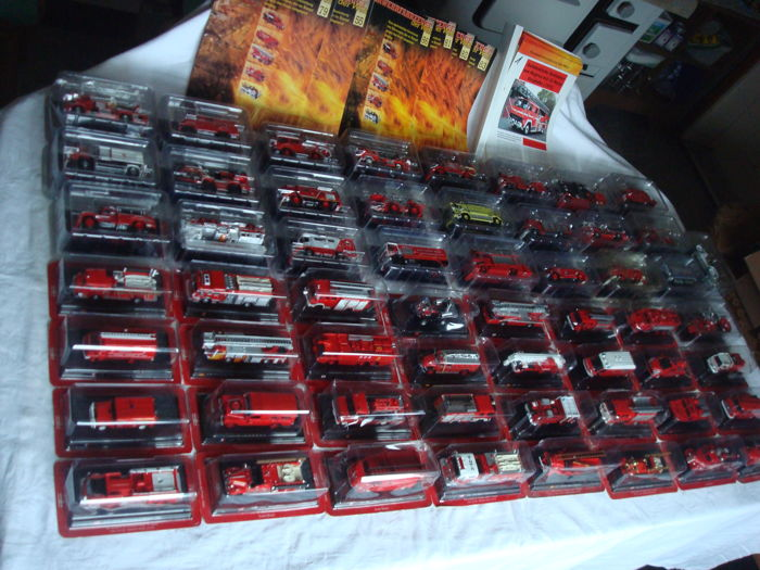 "Fire trucks - collection with 57 models from the series ""Feuerwehren der Welt"" by ""Del Prado"", all in their original box"