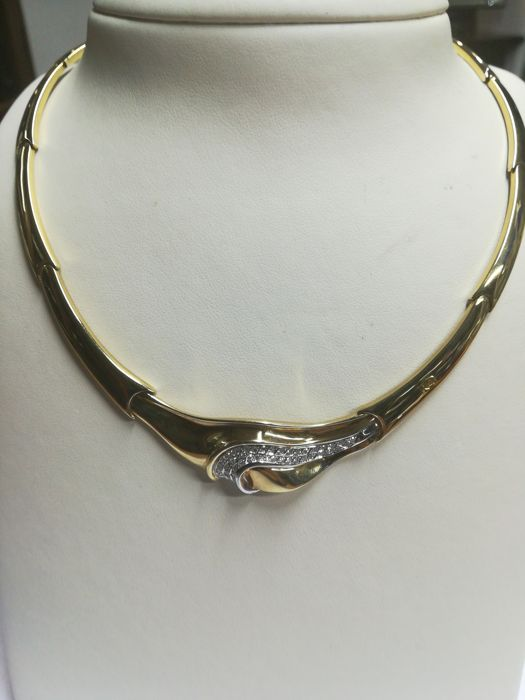 Re Carlo - choker in 18 kt gold with 0.34 ct diamonds, new, never used, length: 40 cm