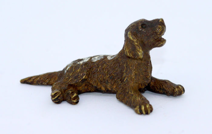 Antique bronze sculpture / figurine of miniature dog - Austria - ca. 1920