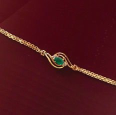 Bracelet with emeralds and diamonds made of 585 / 14kt gold