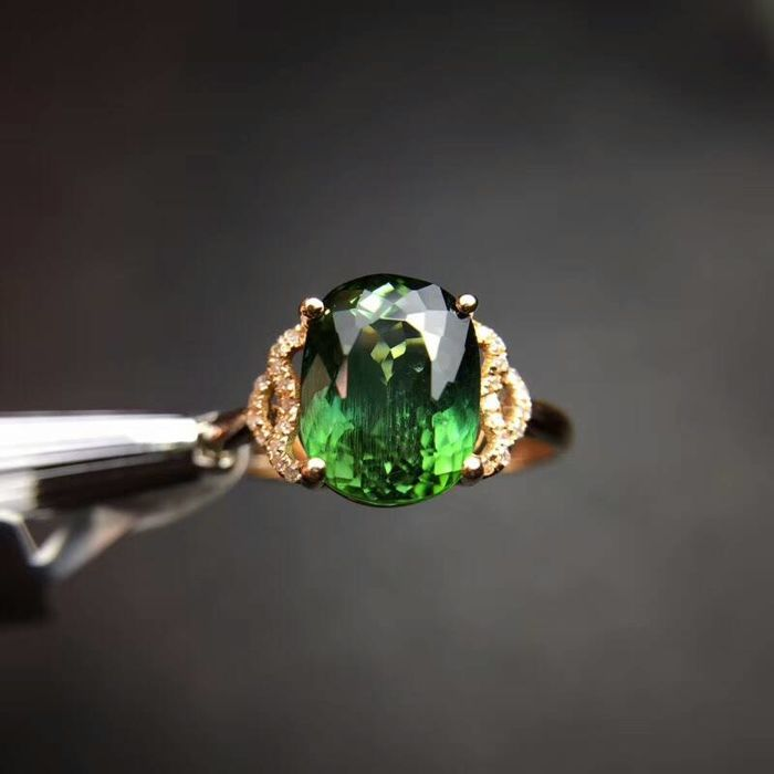 2.3 Carat Tourmaline Ring In 18K Solid Gold with Diamond; Ring Size: 6.75US - Free Resizing