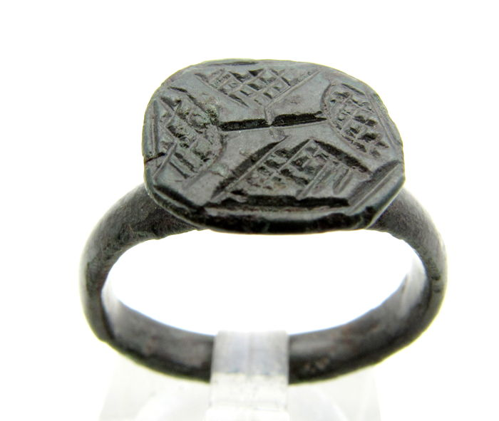 Medieval Crusaders Era Jewish Bronze Ring With Menorah Motif On