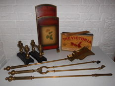 brass fireplace accessories with ground support, match box holder, with nice details, 2nd half of the 20th century