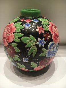 Boch Frères Keramis - Art Deco vase with floral decor