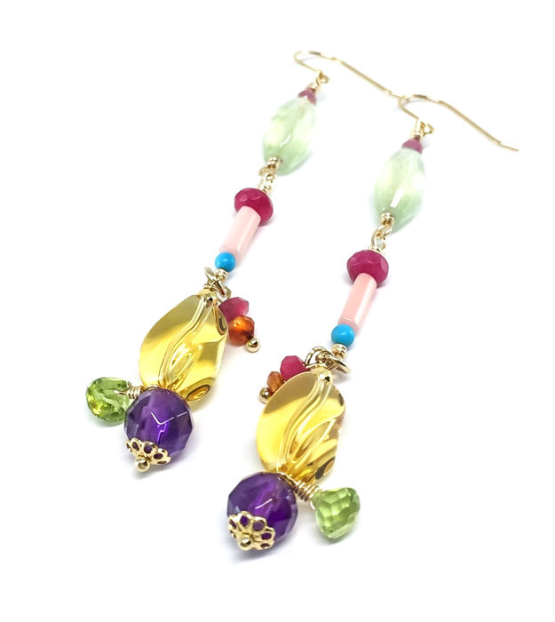 18K Gold Earrings Amethyst Peridot Citrine Turquoise Coral Agate Red Quartz and Tourmaline
