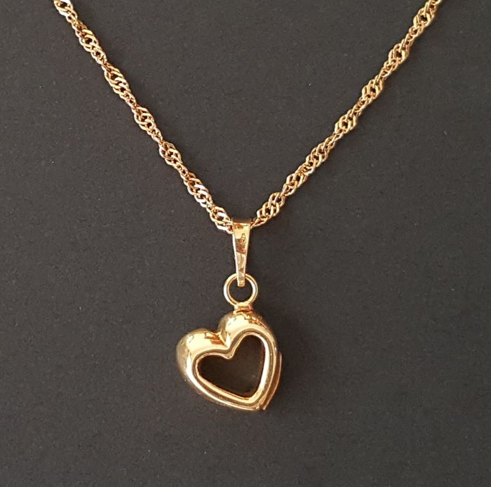 18 kt singapore yellow gold necklace with openwork heart shaped 18 kt singapore yellow gold necklace with openwork heart shaped pendant aloadofball Gallery