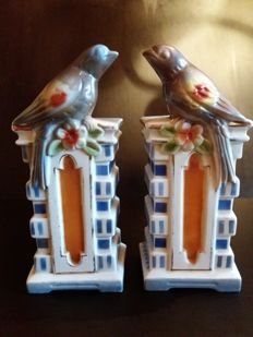 Antique Art Deco mirrored porcelain birds