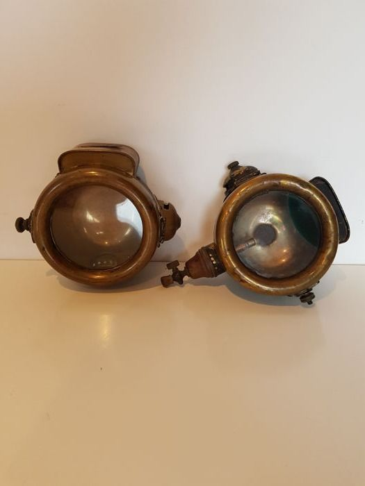 Lot of 2 old car headlights Lucifer 1900