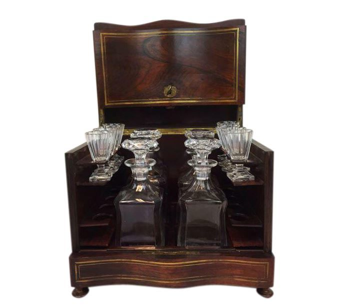 A Napoleon III liqueur cellar - with brass inlay - France - circa 1880