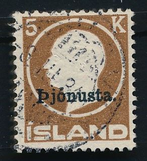 Iceland - 1922 - Official stamps with overprint, 5 kr. - Michel 42