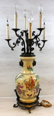 Antique porcelain table lamp wit a bronze fixture, 6 lights, China, ca. 1900