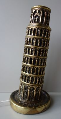 Ps Italy - gold-coloured table lamp in the shape of the tower of Pisa