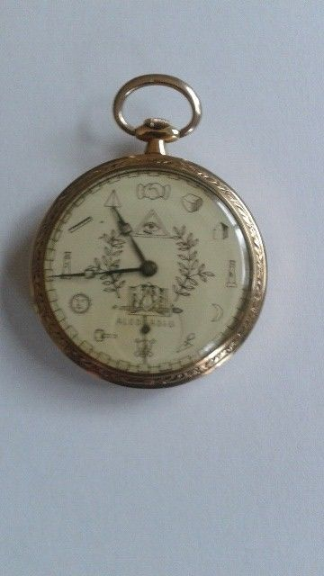 Freemason pocket watch in yellow gold