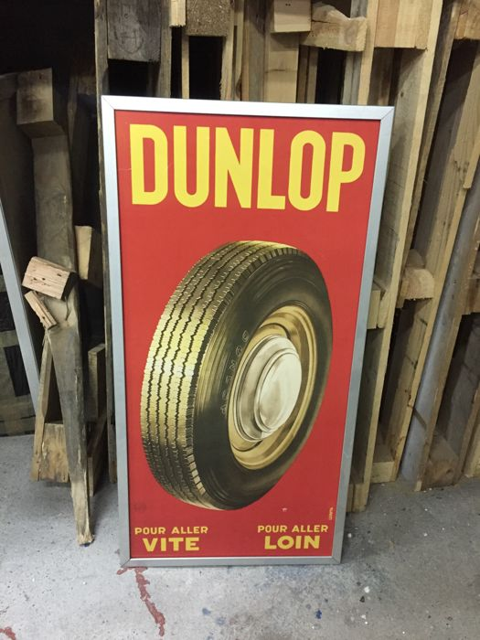 Decorative object - DUNLOP advertising garage poster in aluminium frame - 2005-2015