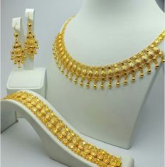 22 Ct  Gold Traditional Jewelry Set ,Necklace 50 cm, Bracelet 18cm, Earrings 6cm