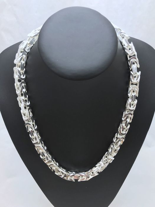 Silver (925) King's braid link necklace, length 59.5 cm, width 9 mm, weight 325 g