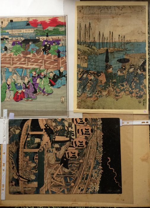 Three original woodblock prints including one by Keisai Eisen (1790-1848), Utagawa Kunisada (1786 - 1865) - Japan - 19th century