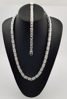 Silver king's braid link necklace and bracelet, 925 kt Necklace: 240 grams, 66 cm and 7 mm Bracelet: 79 grams, 22 cm and 7 mm