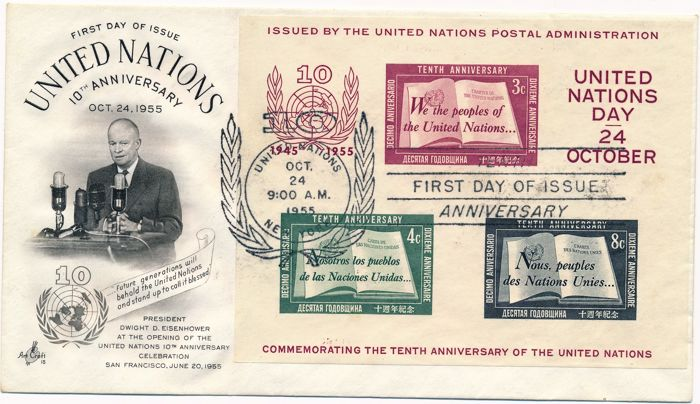 Nazioni Unite - New York 1955 - Lot with 10 years of the UN sheetlet Michel 1 FDC