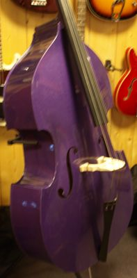 "New 3/4 double bass ""Rock a Billy"" metallic purple with solid cover, bow and adjustable bridge"