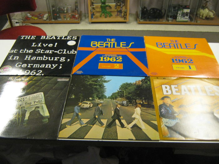 7 original beatles Records like: Beatles 1962(2x) Beatles live in Hamburg, abbey Road,The early years,Beatles first Movement.