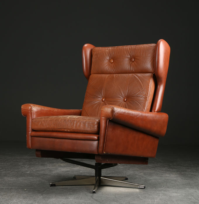 Skipper furniture vintage fauteuil in cognac leer catawiki for Vintage fauteuil leer