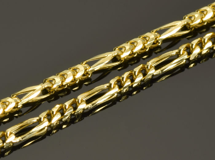 18k Gold Necklace. Solid Chain - 50 cm