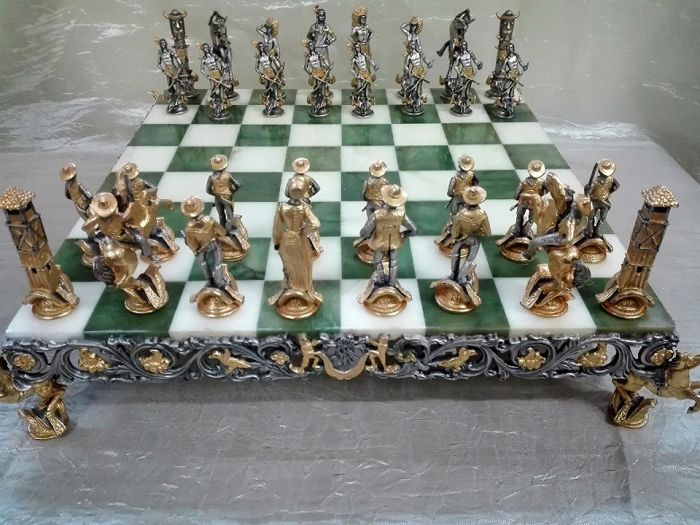 "Piero Benzoni - ""Indians vs. Cowboys"" chessboard - Italy - 1990s"