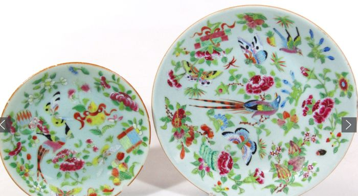 2 Famille Rose celadon dish, decorated with exotic birds, China, 19th c.