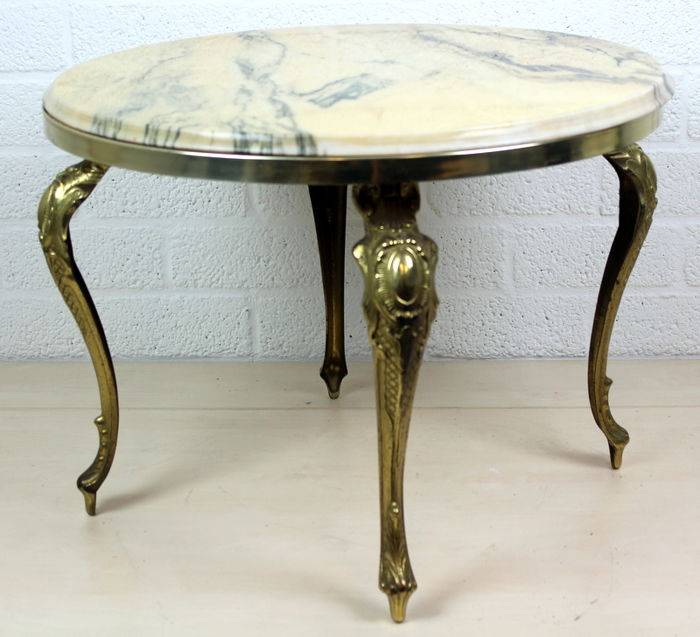 Copper side table with marble top, 2nd half of 20th century, France