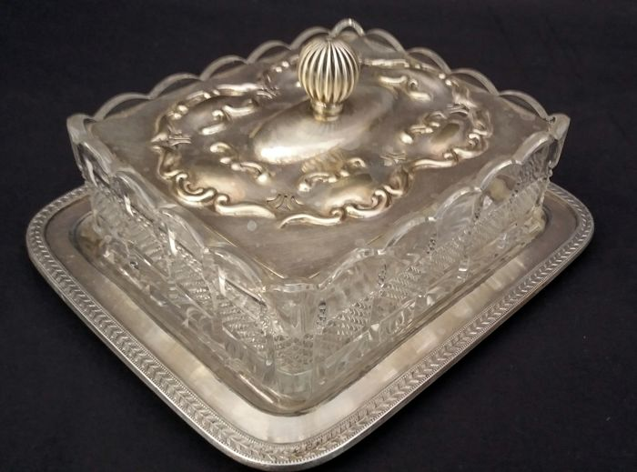 James Dixon & Sons - Antique sweets box made of Sheffield glass and stunning hallmarked cut crystal