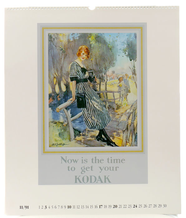 "Kodak girl"" promotional calendar for the year 1991 from the"