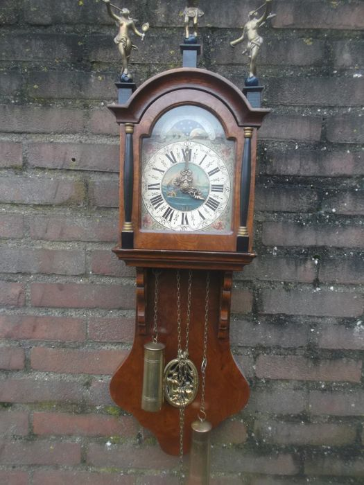 Beautiful Frisian Grandfather Clock With Copper Weights