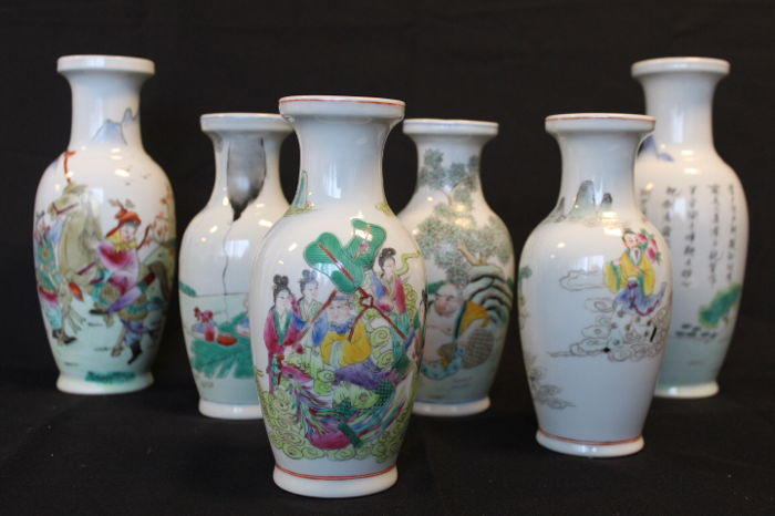 Collection Of 6 Handpainted Porcelain Vases With Warriorswarlords