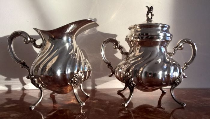 Silver 800 Sugar Bowl and Milk Jug Franco Lodigiani Vercelli (Italy), after 1968