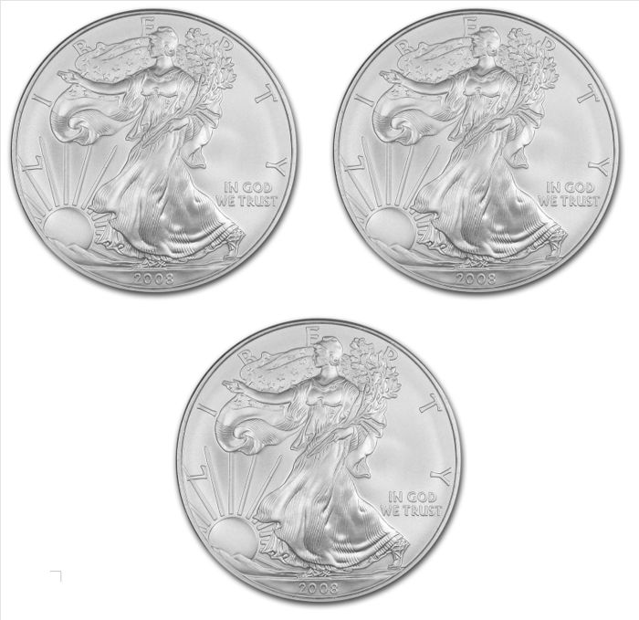 USA - 3 x $1 - US Mint - 3 x 1 oz 2008 silver coin - American silver eagle, 2008 - Vintage