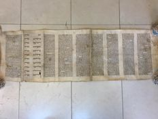 Antique Jewish book of Esther scroll (megillah) on parchment - Poland 18 century