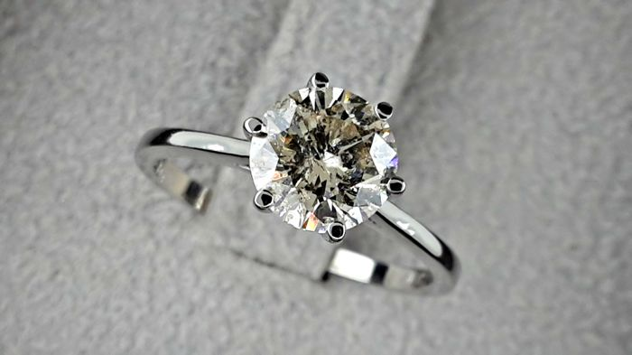 ct round fancy brown diamond ring 14 kt solid white. Black Bedroom Furniture Sets. Home Design Ideas