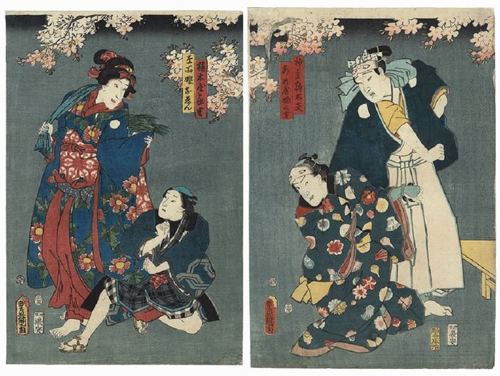 Original diptych woodcut by Utagawa Kunisada (1786–1865) - Actors on stage - Japan - around 1854