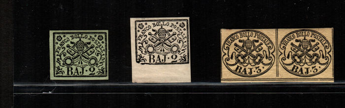 Papal State 1852 - 2 Baj and 3 Baj - Sass. No.  3 - 3A - 4A