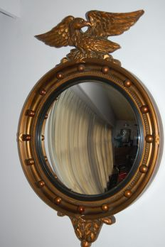 Large Regency style mirror in a wooden bronze-coloured frame with eagle, England, mid 20th century