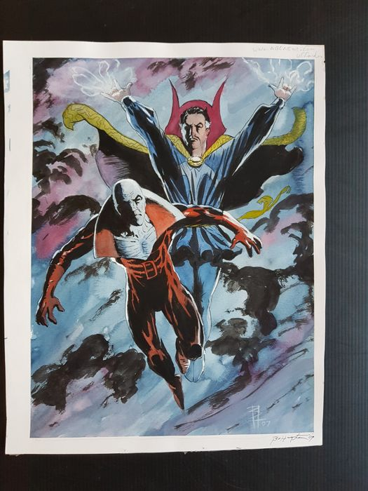 Bo Hampton - Original Watercolor Pin Up - Doctor Strange / Deadman - (2007)