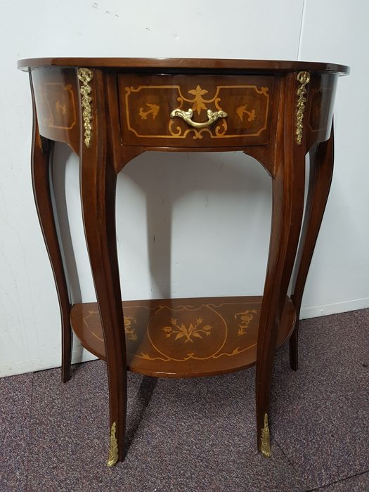A demi lune console table with inlay, late 20th century