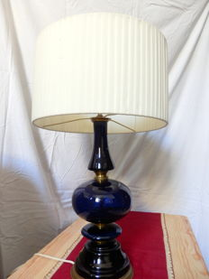 Cobalt Blue Glass and Bronze Table Lamp, Italy, ca. 1950's